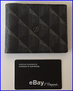 S. T. Dupont 6 Credit Card, Coated Canvas & Leather Billfold Wallet, 91200, NIB