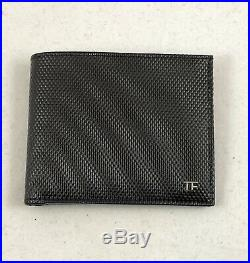 TOM FORD Grained Bi-Fold Leather Mens Wallet Black / Silver Hardware