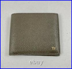TOM FORD Grained Bi-Fold Leather Mens Wallet Gray / Gold Hardware