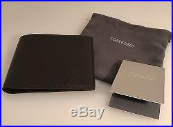 TOM FORD Grained Leather Bifold Wallet Brown