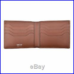 Tom Ford Men's Leather Brown Bi-Fold Wallet With Silver Tom Ford Stamp NEW