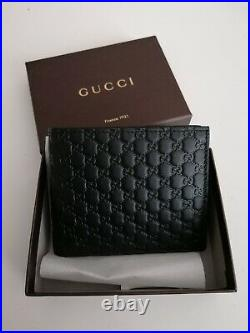 Unwanted Gift NEW Genuine Gucci Signature Leather Men Wallet in Black