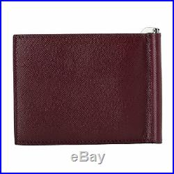 Versace Men's 100% Grained Leather Burgundy Money Clip Wallet