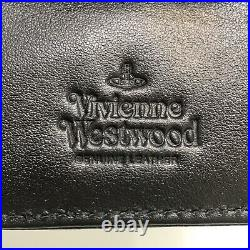 Vivienne Westwood Mens Leather Bifold Wallet with Coins Pocket- Navy Blue