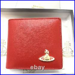 Vivienne Westwood Mens Leather Bifold Wallet with Coins Pocket- Red